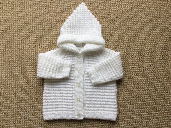 Handknit White Hoodie Jacket  6 to 12 months by BabyJaneKnits