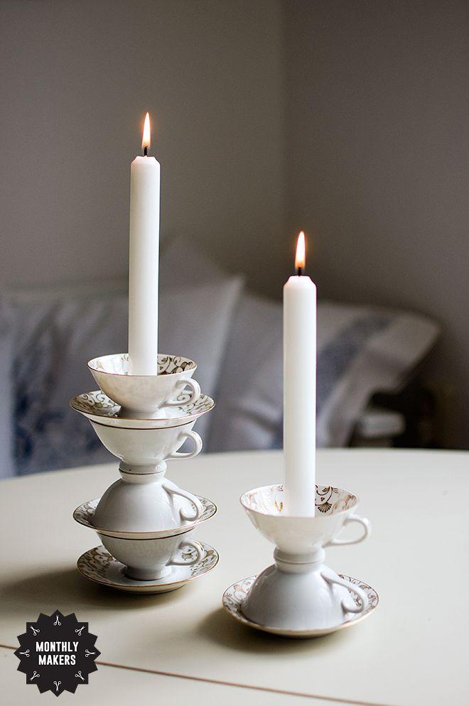 Ljusstakar av gammalt porslin, återbruk av Jessica Andersdotter. #monthlymakers