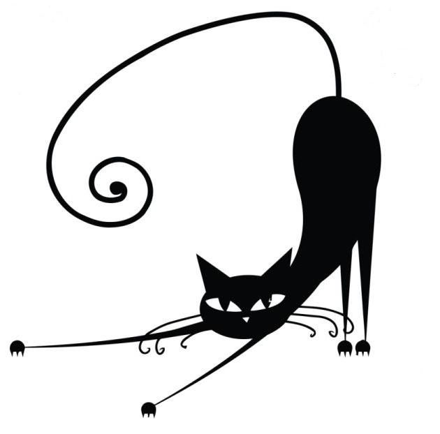 A very stylistic and simple image of a stretching cat.
