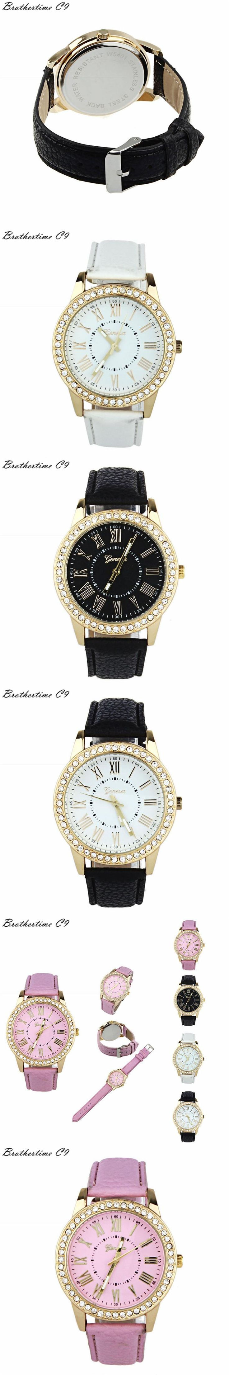 crystal leather charm bow strap ladies watch chain bracelet wrist itm watches women quartz