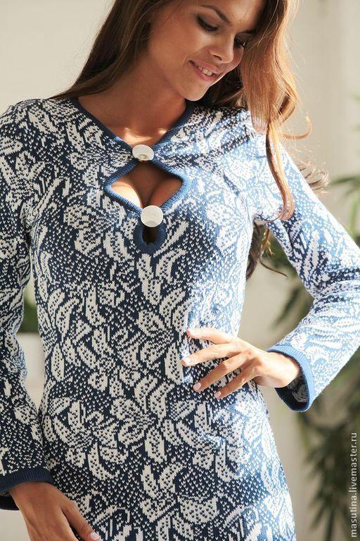 """Купить Платье """"Красотка"""" - синий, теплое платье, вязаное платье, жаккардовое платье, платье с декольте"""