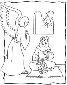 the angel visits mary coloring page - Google Search