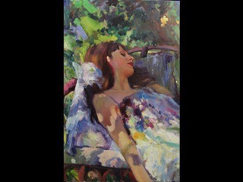 Игорь Сахаров, портрет женский в стиле импрессионизм (1ч) пленэр, этюд, живопись для начинающих - YouTube