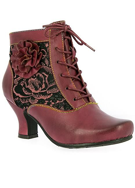 Laura Vita Candice Corsage Ankle Boots #Kaleidoscope #Fashion #Shoes #Floral #Victorian #Patterns #Roses #Heels