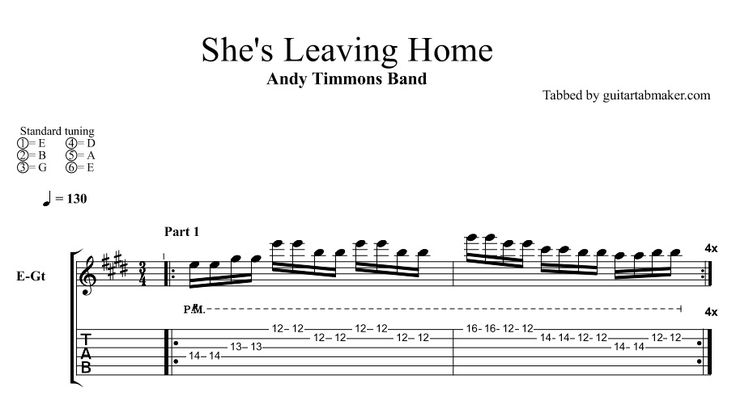 Andy Timmons Band - She's Leaving Home TAB - instrumental lead guitar TAB