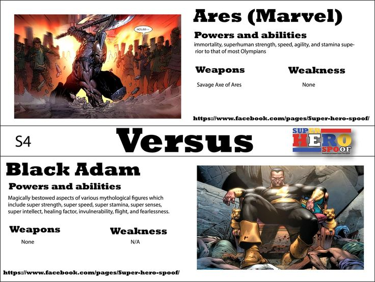 A battle epic enough to destroy Olympus... Ares vs Black Adam! WHO WILL WIN, and why? Powers, abilities, weaknesses, and weapons are posted. #superherospoof