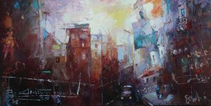 "Waclaw Sporski ""Theorem Of The City"" 40х80 Oil On Canvas sporskiart.com"