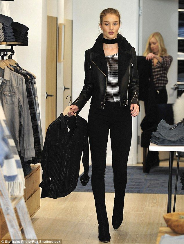 Casual day: Rosie Huntington-Whiteley was spotted doing some shopping at celeb-favourite The Grove in Los Angeles on Wednesday