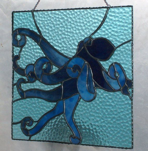 custom stained glass work octopus $95