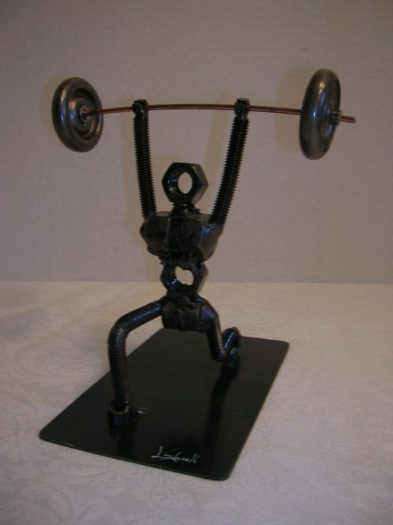 Weight Lifter Sculpture Nuts And Bolts By Shullsmetalfab