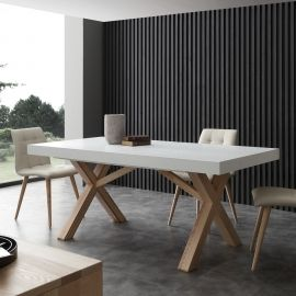 White extendable dining table Rico, with solid wood frame