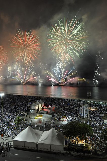 In #Brazil, they know how to party. So why not #travel there for your New Year's celebrations? Visit Copacabana Beach, join the party, and watch a spectacular fireworks show at midnight! http://blog.demeure.com/new-years-eve-party-places/