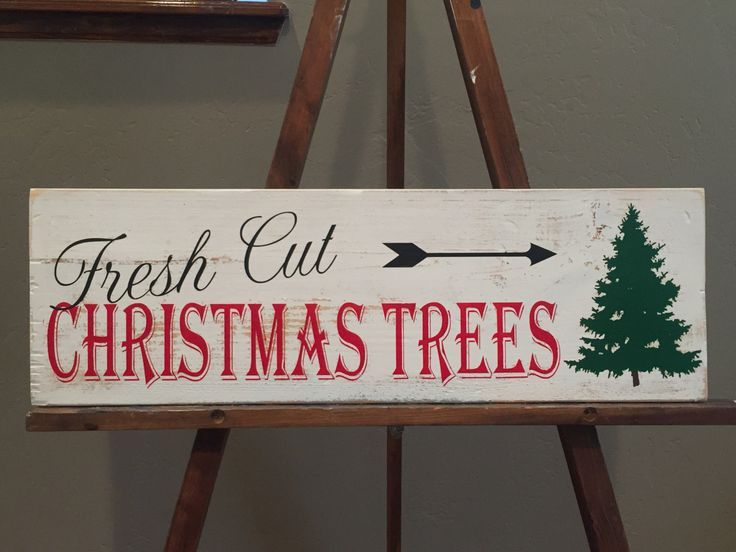 Fresh Cut Christmas Trees Reclaimed Wood Sign by WoodandPaperBowtique on Etsy