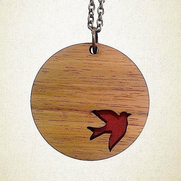 Flying Bird Pendant - Rose   Krinkle