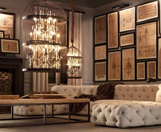restoration hardware living room | restoration-hardware-living-room-rustic-birdcage-chandeliers_660_396 ...