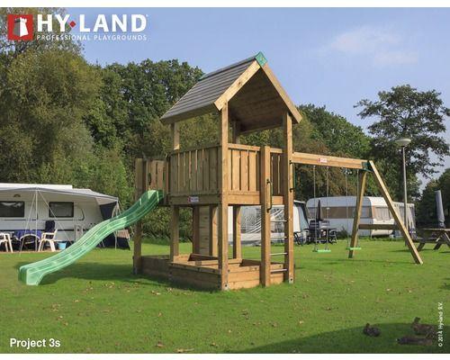 Spielturm Hyland Projekt 3S Holz mit Sandkasten, Doppelschaukel, Rutsche grün