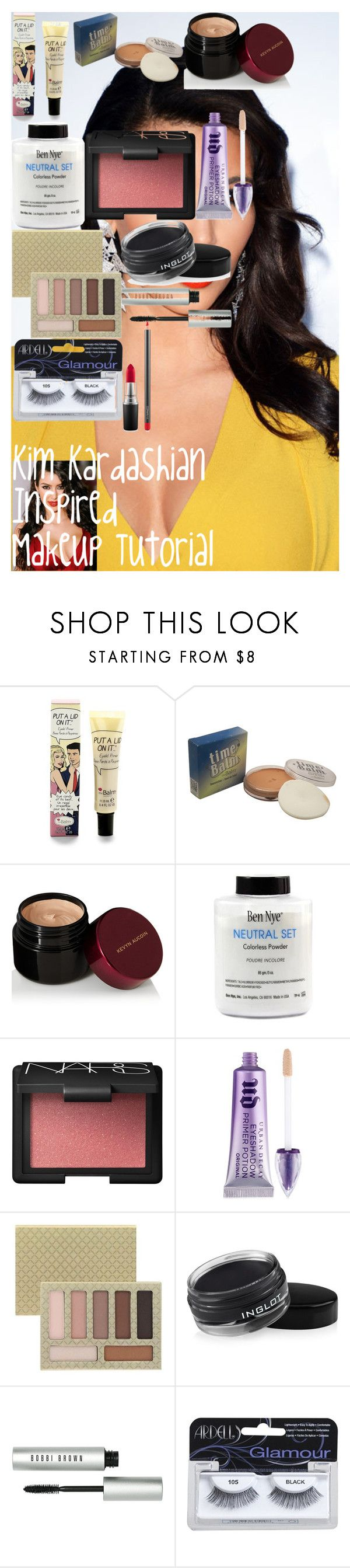 Kim Kardashian Inspired Makeup Tutorial ♡ by oroartyellie on Polyvore featuring beauty, LORAC, Kevyn Aucoin, Bobbi Brown Cosmetics, MAC Cosmetics, NARS Cosmetics, Urban Decay, TheBalm, Inglot and Ardell