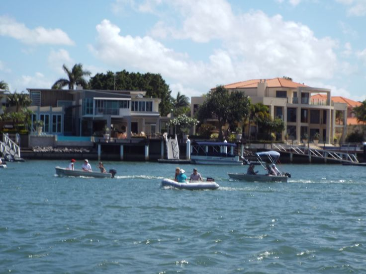 The annual Tinny Rally on the Mooloolaba canals when small boats have a day out seeking various points along a course.