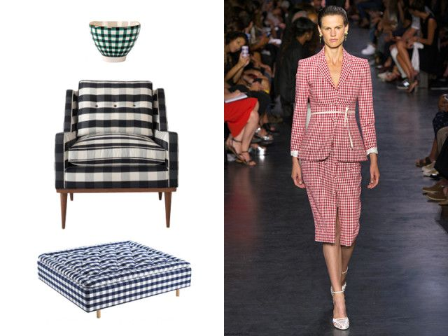 while En Soie offers a new iteration of the fabric in gingham-painted tabletop accessories. Schoolhouse Electric takes the pattern midcentury with its Jack chair.