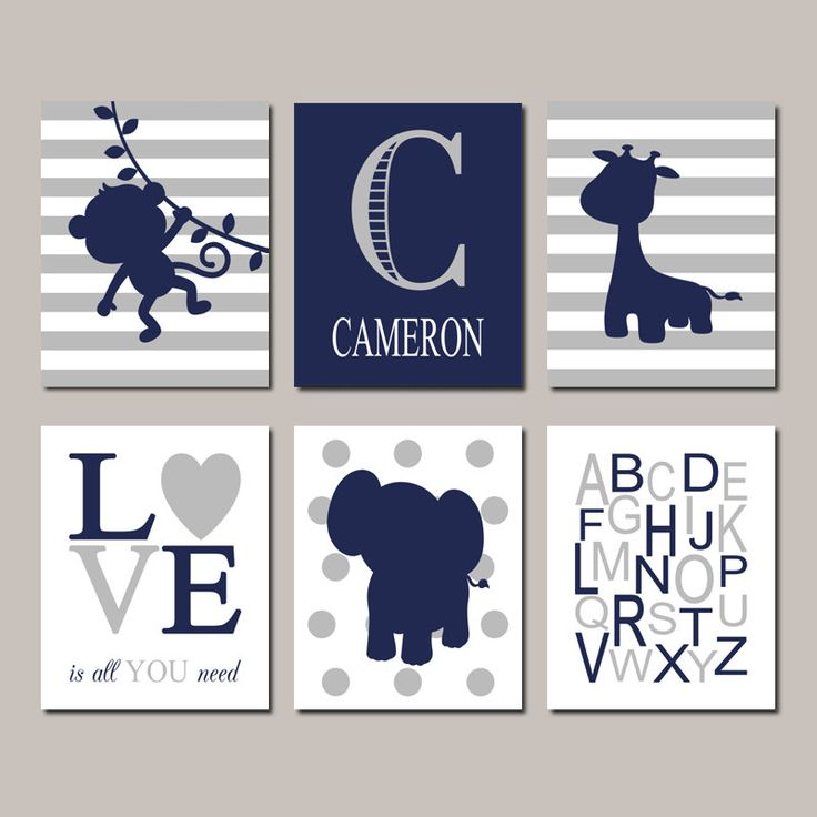Baby Boy Nursery Art Navy Gray Nursery Jungle Animals Nursery Art Boy Nursery Decor Elephant Monkey Giraffe Set of 6 Prints Or Canvas by LovelyFaceDesigns on Etsy