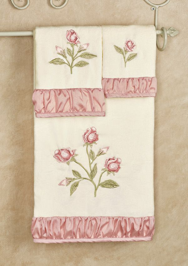 Blush Rose Embroidered Floral Bath Towel Set With Images