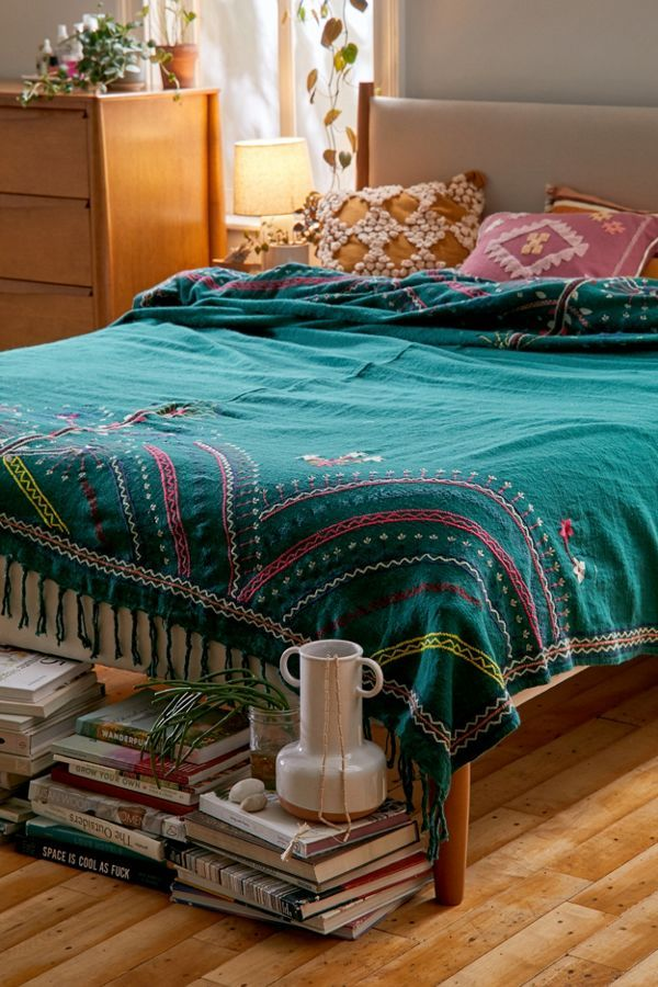 Honora Embroidered Bed Blanket Embroidered bedding, Bed