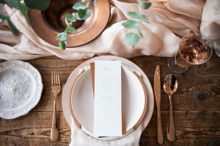 Blush pink table settings. It's all in the details.