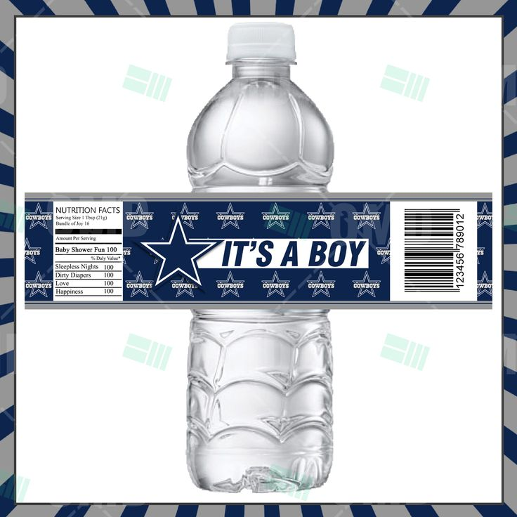 Charming Dallas Baby Shower Bottle Label Product 1
