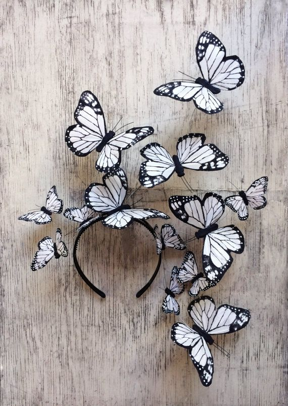 Ivory White Butterfly Fascinator Headpiece by DelfinaCrowns