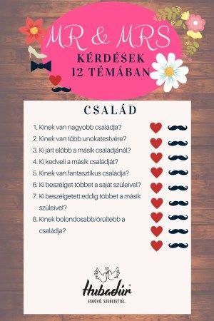 Mr és Mrs kérdések - Család / Wedding shoe game / He said she said