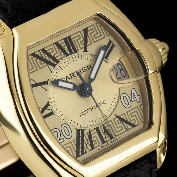 #Cartier #Greece #LimitedEdition #Roadster in 18k Yellow Gold.  A limited edition of 50 pieces made in celebration of the 2004 #Olympics in #Athens, Greece. Note the #greek style meander motif, the '2004' on the dial and it also features an engraving of the Greek flag on the caseback.  Complete with box and papers.