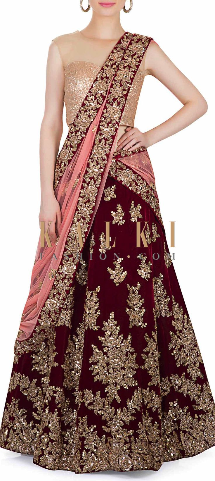 Maroon Velvet Lehenga with Pink Net Dupatta Featuring Intricate Zardosi Work only on Kalki