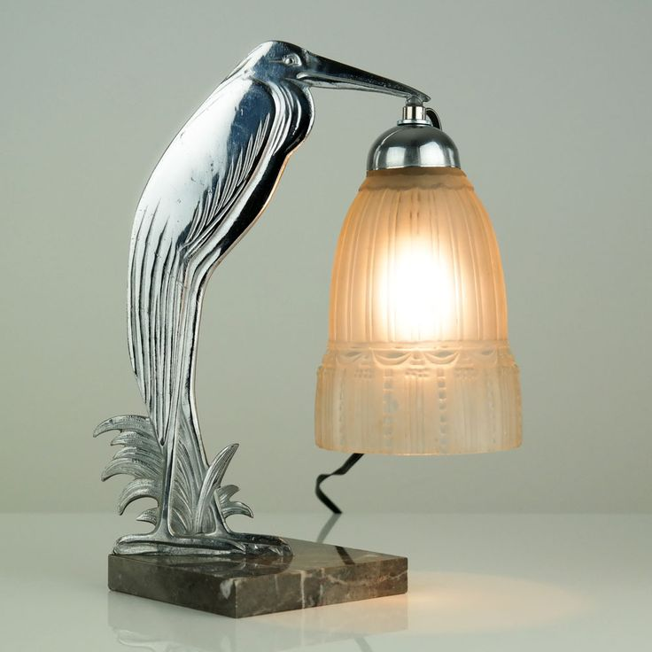 Stunning 1930s French ART Deco Marabou Table Lamp Muller Freres Luneville.