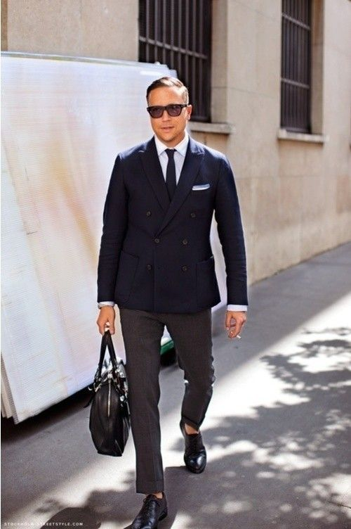 I would suggest you to go for a combination of blue shirt with black blazer and cream trouser, also u can opt half white shirt with black blazer and black pant or you can also go for vertically striped black n white shirt under a black blazer with black pant or blue jeans.