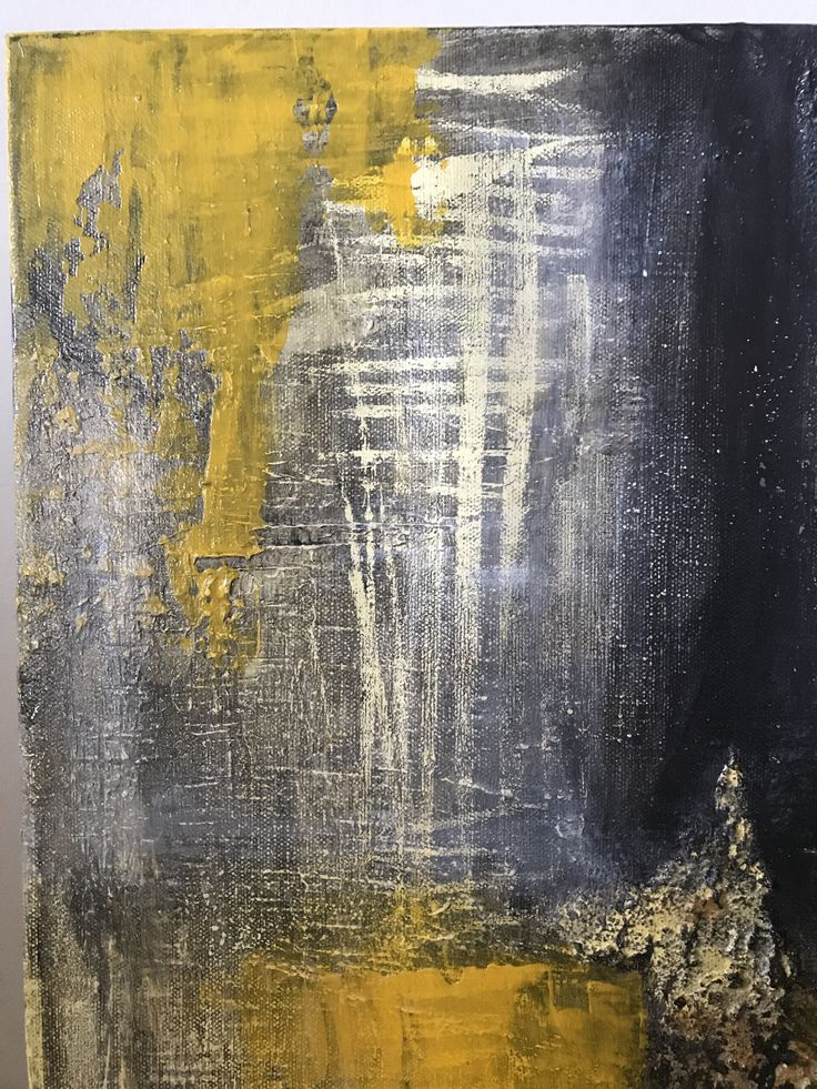 TIME  Yellow/ Charcoal/ Grey/ Cream #art #modern #yellow #grey