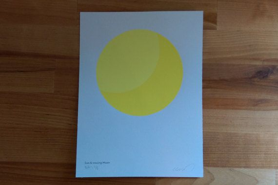 Minimal Sun and waxing Moon glow in the dark poster. Great for a nursery, child's room or design studio!