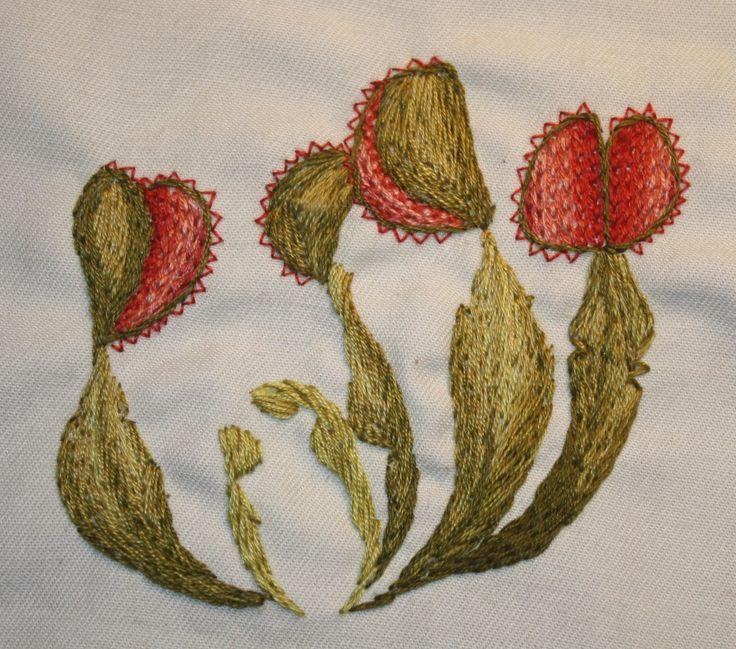 Venus flytrap crewel embroidery