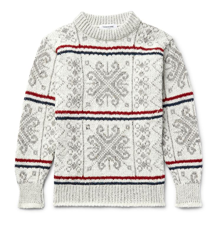 No one blends playful and preppy as well as Mr <a href='http://www.mrporter.com/mens/Designers/Thom_Browne'>Thom Browne</a>, and this sweater is a perfect example of his kitschy aesthetic. Crafted from an incredibly cosy wool and mohair-blend, it's knitted with a traditional Fair Isle motif in the label's signature tricolour hues of white, red and navy. We like it best layered over a crisp shirt.