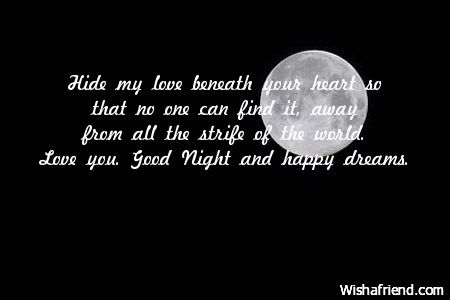 Sweet romantic good night messages for him