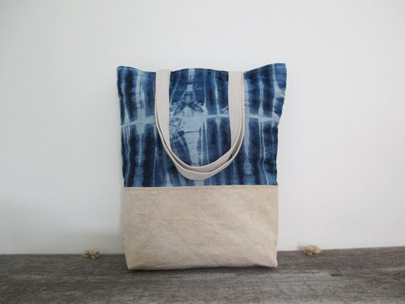 THE COB SHOP Denim and Canvas Beach / Market Tote Bag via Etsy