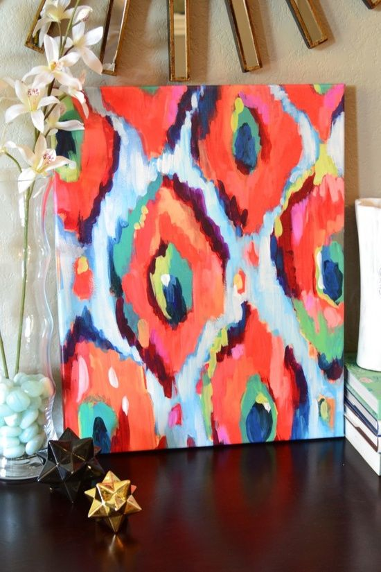 DIY art inspiration. Mimic a fabric pattern SOMEONE make this for me please! :)