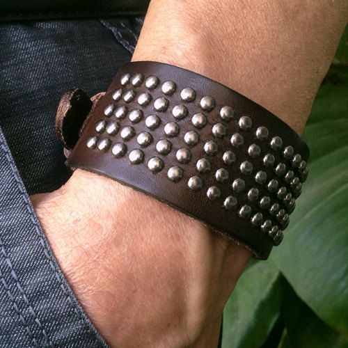Antique Men's Brown Leather with Silver Rivets Cuff Bracelet, Leather Wrist Band Wristband Handcrafted Jewelry