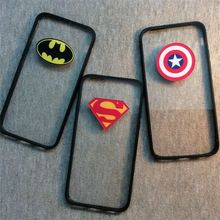 New Hot Captain America Superman Batman Plastic+TPU frame Creative Phone Back Cover Transparent Phone Case For Iphone 6 Plus(China (Mainland))
