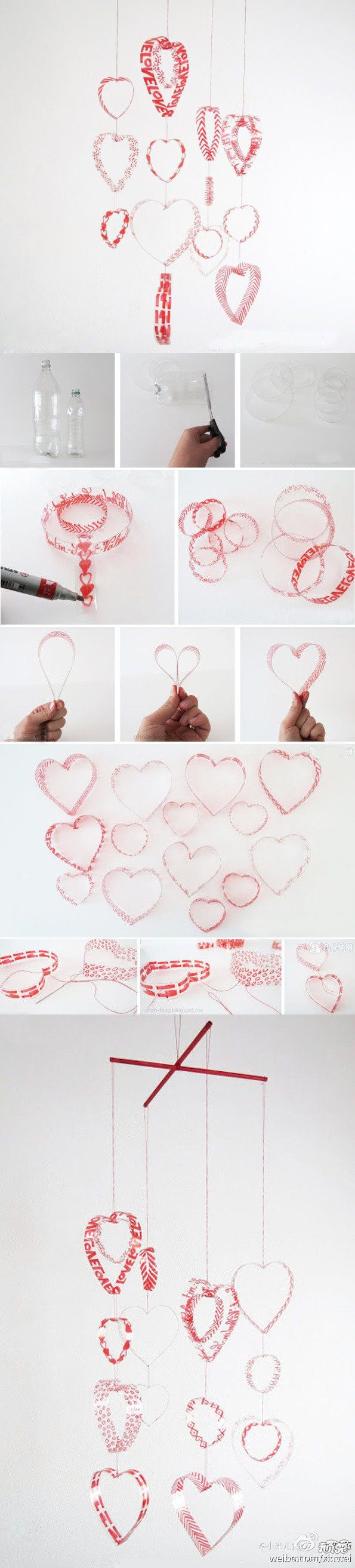 DIY Plastic Bottle Heart Mobile