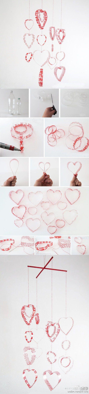 DIY Plastic Bottle Heart Mobile