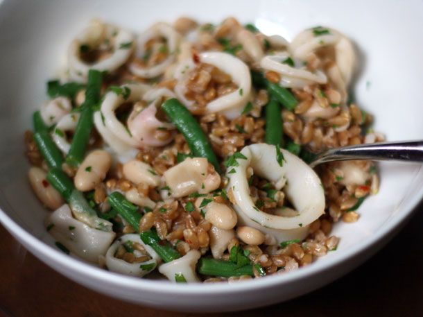 Farro Salad With Squid (I'd use shrimp), White Beans, and Green Beans ...