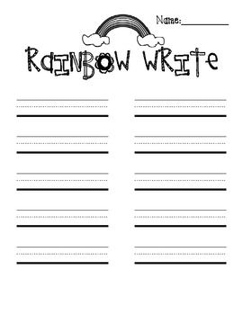 This Printable Pack includes a Rainbow Write Sheet, a Spelling Test Sheet, and Writing Paper.  All sheets have primary lines.If you like this f...