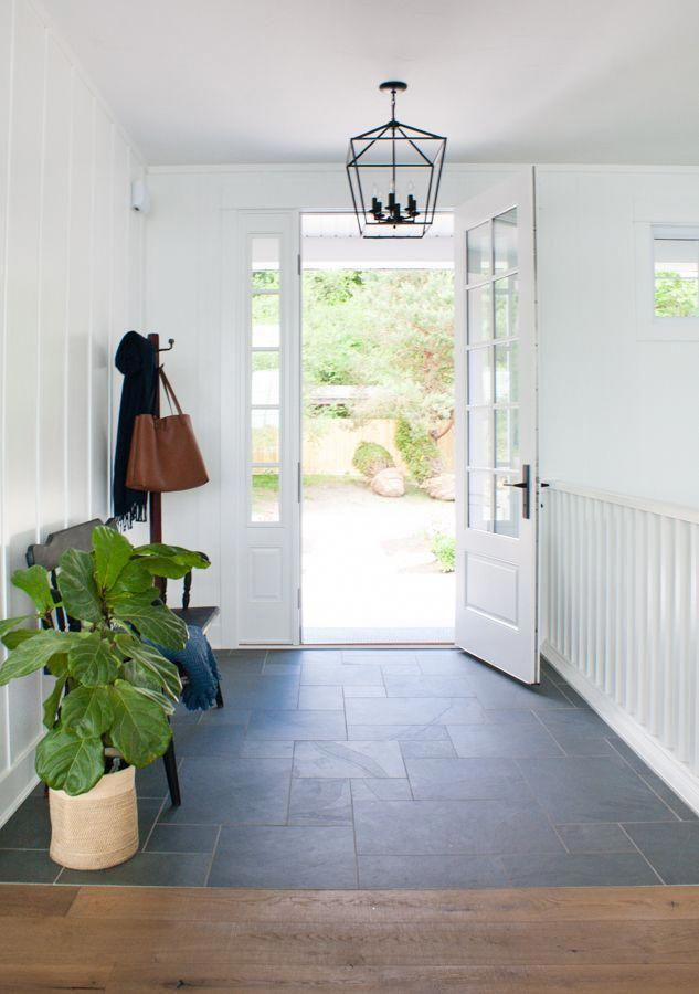 Lake House With Montauk Blue Slate Tile In The Entry White Board And Batten Walls And Natural Wood Entryway Tile Bamboo Flooring Living Room Slate Tile Floor #slate #floors #in #living #room