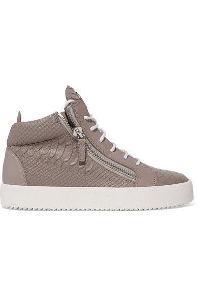 Giuseppe Zanotti - Kriss Croc-effect Leather High-top Sneakers - Mushroom - IT37.5