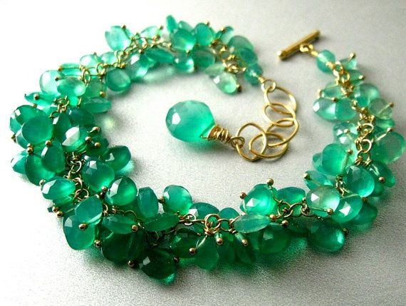 Green Onyx Ombre Wire Wrapped Bracelet by SurfAndSand on Etsy, $219.00